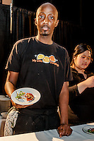 Chef Bashir Munye of My Little Dumplings with Vegan Squash and Green Curry Dumplings at FoodShare Toronto's Recipe for Change, February 28,  2013