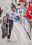 8 January 2016: Elisabeth Vathje, competing for Canada, walks off the track with her sled after completing her second run of the BMW IBSF World Cup Skeleton race with a combined 2-run time of 1:51.95, earning a 12th place finish for the day at the Olympic Sports Track in Lake Placid, New York, USA. Mandatory Credit: Ed Wolfstein Photo *** RAW (NEF) Image File Available ***