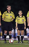 Jeff Muschik (l), Match Referee, with Fourth Official Sandra Serafini (r) on Thursday, October 20th, 2005 at Fetzer Field in Chapel Hill, North Carolina. The University of North Carolina Tarheels defeated the North Carolina State University Wolfpack 1-0 during an NCAA Division I Women's Soccer game.