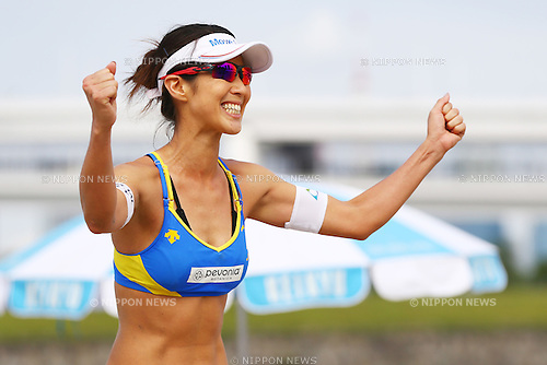 Satoko Urata,<br /> SEPTEMBER 21, 2015 - Beach Volleyball : <br /> JBV Tour 2015 Tokyo Open<br /> Women's Semi-Final<br /> at Odaiba Beach, Tokyo, Japan.<br /> (Photo by Shingo Ito/AFLO SPORT)