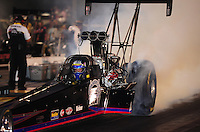 Jun. 17, 2011; Bristol, TN, USA: NHRA top fuel driver Pat Dakin during qualifying for the Thunder Valley Nationals at Bristol Dragway. Mandatory Credit: Mark J. Rebilas-