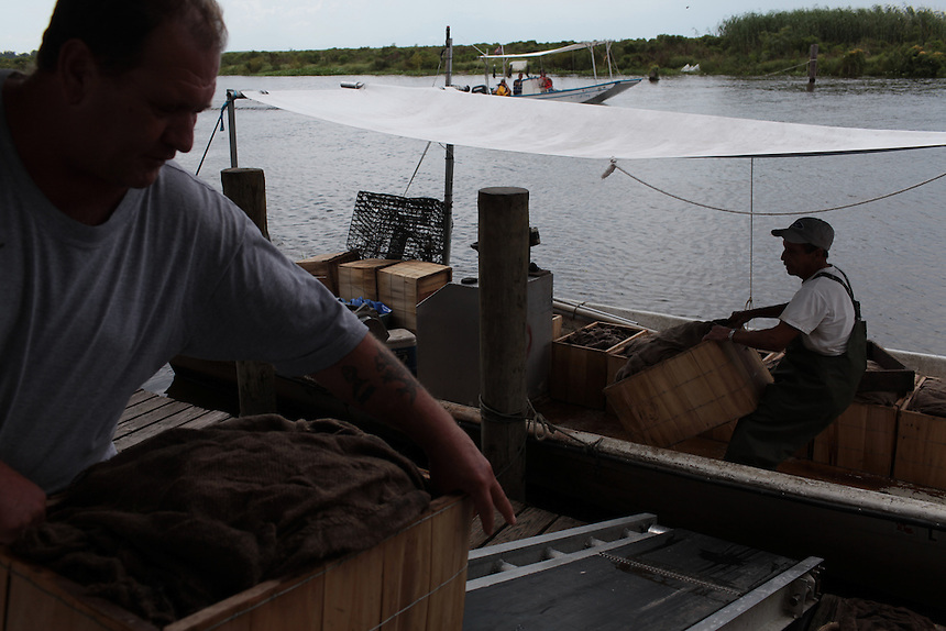 Blue Crab dealer Russell speaking with his only fishermen catching blue crab, Donald Campo at Delacroix Island, LA August 31, 2010. The rest of the crab fishermen are working for BP helping clean up the oil spill.