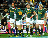Springboks Victor Matfield, Morne Steyn, Pierre Spies and Wynand Olivier regroup after Ma'a Nonu's try. Investec Tri-Nations - All Blacks v South Africa at Westpac Stadium, Wellington on Saturday 17 July 2010. Photo: Dave Lintott/lintottphoto.co.nz