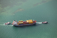 aerial photograph tug boats container ship, Miami, Florida