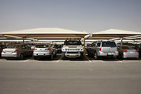 Cars parked outside the news channel Al Jazeera in Doha.