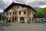Decorative fresco painted on the Pilatushaus, famous for the passion play. Oberammergau, Bavaria, Germany.