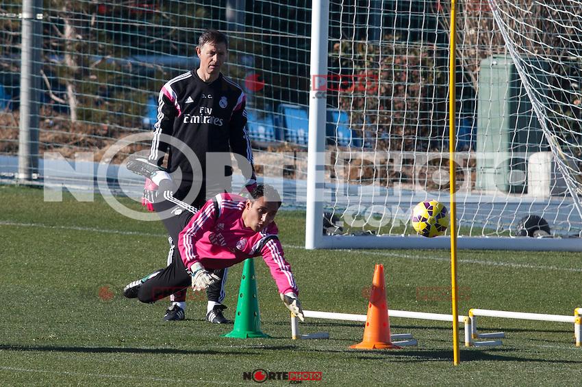 Keylor Navas during a sesion training at Real Madrid City in Madrid. January 23, 2015. (ALTERPHOTOS/Caro Marin) /NortePhoto<br /> NortePhoto.com