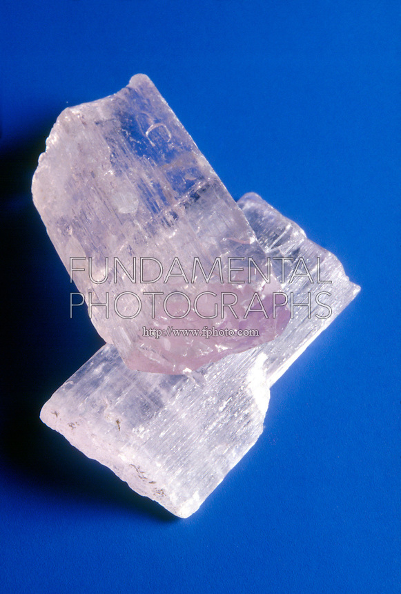 SPODUMENE: KUNZITE VARIETY - LITHIUM SOURCE<br /> Inosilicate, Pyroxene Group<br /> Clear lilac monoclinic crystal form of Spodumene; LiAlSi2O6- Lithium aluminum silicate