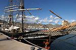 Roald Amundsen tall ship, docked in Santa Cruz harbour. Tenerife,Canary Islands.
