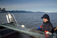 Bill Webber Checks Out His Gill Net on Paradigm Shift, Cordova, Alaska, US