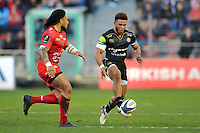 Kyle Eastmond of Bath Rugby puts in a grubber kick. European Rugby Champions Cup match, between RC Toulon and Bath Rugby on January 10, 2016 at the Stade Mayol in Toulon, France. Photo by: Patrick Khachfe / Onside Images