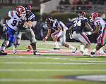 Ole Miss quarterback Randall Mackey (1) drops the ball while looking to pass vs. Louisiana Tech in Oxford, Miss. on Saturday, November 12, 2011.