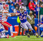 9 November 2014: Buffalo Bills cornerback Stephon Gilmore blocks Kansas City Chiefs wide receiver Frankie Hammond in the first quarter at Ralph Wilson Stadium in Orchard Park, NY. The Chiefs rallied with two fourth quarter touchdowns to defeat the Bills 17-13. Mandatory Credit: Ed Wolfstein Photo *** RAW (NEF) Image File Available ***
