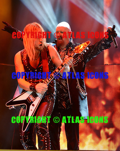 HOLLYWOOD FL - OCTOBER 30 : Rob Halford and Richie Faulkner of Judas Priest perform at Hard Rock Live held at the Seminole Hard Rock Hotel & Casino on October 30, 2014 in Hollywood, Florida. : Credit Larry Marano (C) 2014