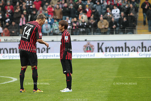 (L-R) Alexander Meier, Takashi Inui (Frankfurt),.FEBRUARY 9, 2013 - Football / Soccer :.Alexander Meier and Takashi Inui of Frankfurt before the Bundesliga match between Eintracht Frankfurt 0-0 1. FC Nuernberg at Commerzbank-Arena in Frankfurt, Hesse, Germany. (Photo by AFLO)