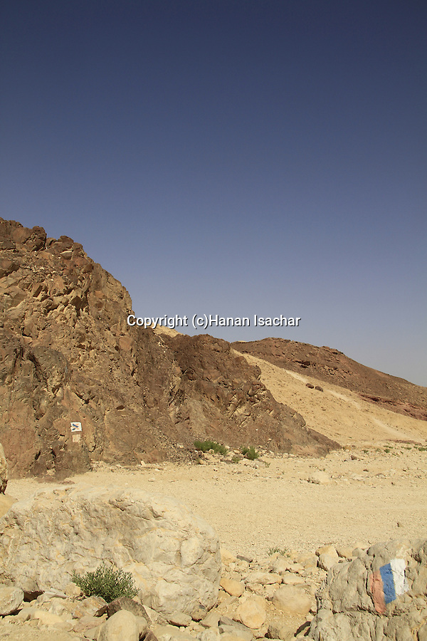 Israel, Eilat mountains, Israel Trail in Shehoret Canyon