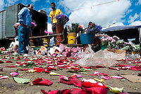 A Colombian man sells roses in the flower market of Bogota, Colombia, 10 July 2010. Colombia is one of the world leaders in cut flower industry. The advantage of the moderate sunny climate, very cheap labor force in combination with the absence of social laws and environmental regulations have created perfect conditions for the cut flower production. Flower growing is very fragile and necessarily depends on irrigation and chemical maintenance, provided by highly toxic pesticides. About 110.000 workers in Colombia, working mainly for living minimum wage, keep the floral industry going and saturate the market generated by consumerist culture the US, Canada and Europe.