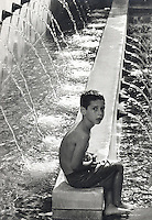 Water fountain boy from the Los Angeles downtown library 1993.