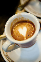 Coffee with love heart at Roman cafe, 'Tazza d' Oro', Rome, Italy
