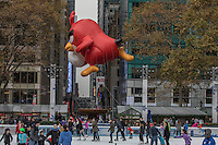 NEW YORK, NY - NOVEMBER 24:  Angry Birds' Red balloon floats at the 90th annual Macy's Thanksgiving Day Parade near to Bryant Park ice rink on November 24, 2016 in New York City.  Photo by VIEWpress/Maite H. Mateo.
