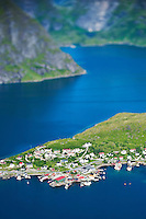 View from Reinebringen peak towards village of Myran, near Reine, Lofoten islands, Norway