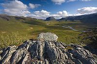 View from Lulep Spadnek looking south towards Tjahkkelij, Sarek National Park, Laponia World Heritage Site, Sweden