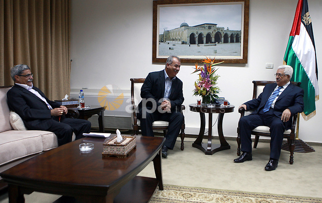 Palestinian President, Mahmoud Abbas (Abu Mazen)  meets with the President of the Democratic Front for Peace and Equality MP Mohammed Baraka, and the mayor of Nazareth Ramez Graash, in the West Bank city of Ramallah, on May 27, 2012.  Photo by Thaer Ganaim