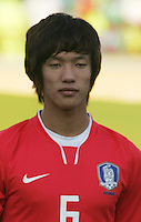 South Korea's Jeong Ho Hong (6) stands on the field before the FIFA Under 20 World Cup Quarter-final match between Ghana and South Korea at the Mubarak Stadium  in Suez, Egypt, on October 09, 2009.