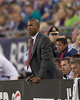 Chivas USA coach Robin Fraser gets closer view of early action. In a Major League Soccer (MLS) match, Chivas USA defeated the New England Revolution, 3-2, at Gillette Stadium on August 6, 2011.