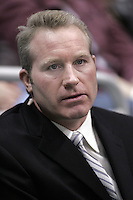 January 5, 2006: TV commentator Marty McSorley watches the  NHL Los Angeles Kings 4-0 win over the Phoenix Coyotes at the Staples Center, CA.