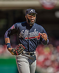 6 April 2014: Atlanta Braves right fielder Jason Heyward trots back to the dugout during a game against the Washington Nationals at Nationals Park in Washington, DC. The Nationals defeated the Braves 2-1 to salvage the last game of their 3-game series. Mandatory Credit: Ed Wolfstein Photo *** RAW (NEF) Image File Available ***