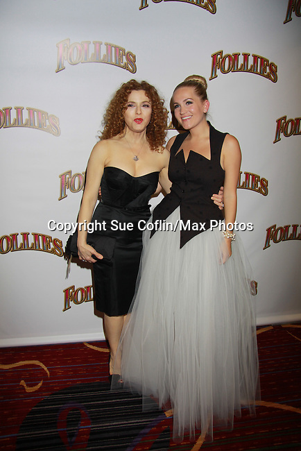 Opening Night - Bernadette Peters and Lora Lee Gayer (younger version of Bernadette's character as they star in Follies, a James Goldman & Stephen Sondheim's classic musical on September 12, 2011 at the Marquis Theatre, New York City, New York. (Photo by Sue Coflin/Max Photos