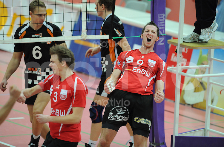 Volleyball  1. Bundesliga   2009/2010  20.01.2010 ENBW TV Rottenburg - SSC Berlin JUBEL TV  Rottenburg, Falko Steinke (re)