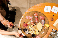 Pingue Charcuterie with crostini, matched with a 2007 Jackson Triggs Entourage Sparkling Merlot. This was course one of five served throughout the winery as part of a Savour The Sights winery tour with chefs Michael and Anna Olsen. January 14, 2012. © Allen McEachern.