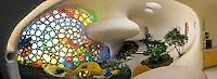 Unusual shell-shaped house built by Senosian Arquitectos in 2005. Naucalpan, Estado de Mexico, Mexico. Monday, March 31, 2008