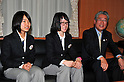 (L to R) Sara Takanashi (JPN), Sumire Kikuchi (JPN),  JOC President Tsunekazu Takeda, JANUARY 24, 2011 - Youth Olympic : Japan national team of Youth Olympic visit Education, Culture, Sports, Science and Technology Ministry after returning Innsbruck 2012 Winter Youth Olympic Games in Tokyo, Japan. (Photo by Jun Tsukida/AFLO SPORT) [0003].