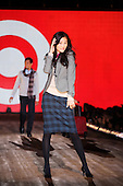 model posing at the end of the runway for Target's fashion show