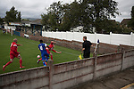 Clitheroe 0 Consett 1, 20/08/2016. Shawbridge, Northern Premier League Division One North. Second-half action as Clitheroe (in blue) play Consett at Shawbridge in an FA Cup preliminary round tie. Northern Premier League division one north team Clitheroe were formed in 1877 and have played at the same ground since 1925. Visitors Consett, from the Northern League division one, won the match 1-0, watched by 207 spectators. Photo by Colin McPherson.