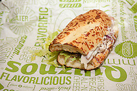A tasty submarine sandwich from a Quiznos franchise in New York on Monday, February 24, 2014. Avenue Capital, the owner of the sandwich chain, is in talks to restructure $600 million in debt. The lenders gave the chain until February 28 to settle with its creditors. Quiznos has 2300 stores compared to competitor Subway with 26,000 stores in the US alone. (© Richard B. Levine)
