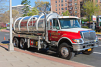 A Frank Nash Septic Service truck makes a service stop in White Plains, New York.