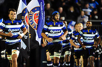 Alex Humfrey and the rest of the Bath Rugby team run out onto the field. Anglo-Welsh Cup match, between Bath Rugby and Leicester Tigers on November 4, 2016 at the Recreation Ground in Bath, England. Photo by: Patrick Khachfe / Onside Images