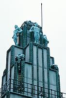 Josef Hoffmann: Palais Stoclet, Brussels. Sculpture by Franz Metzner--copper statues. Photo '87.