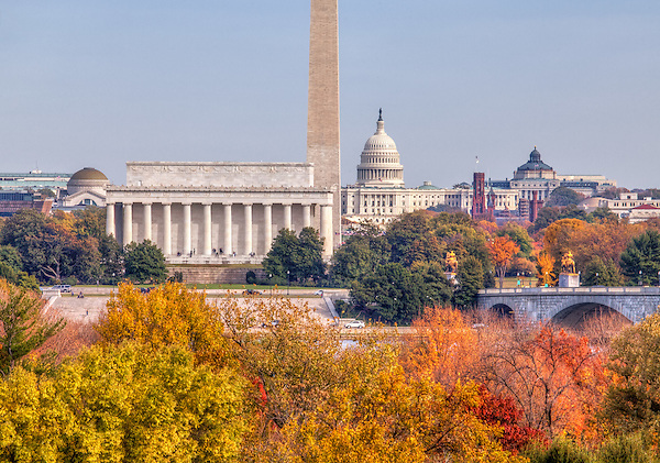 Washington DC Skyline including Lincoln Memorial -  Washington Monument -  US Capitol - Library of Congress<br /> View from the Netherlands Carrilon in Arlington VA