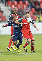 12 September 2012: Chicago Fire forward Sherjill MacDonald #7 and Toronto FC defender Darren O'Dea #48 in action during an MLS game between the Chicago Fire and Toronto FC at BMO Field in Toronto, Ontario..The Chicago Fire won 2-1..