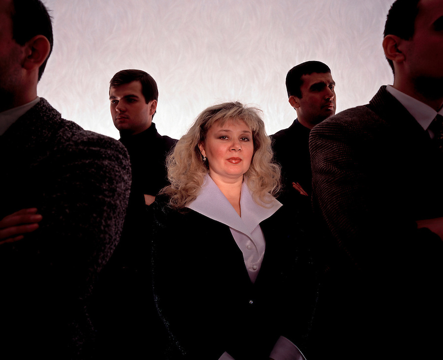Moscow, Russia, 1997..Founder and Director of the Bastion private security agency Yelena Andreyeva with four of her bodygaurds.