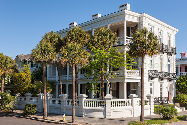 The historic Louis DeSaussure House, an antebellum mansion on Battery Row, in Charleston, South Carolina.
