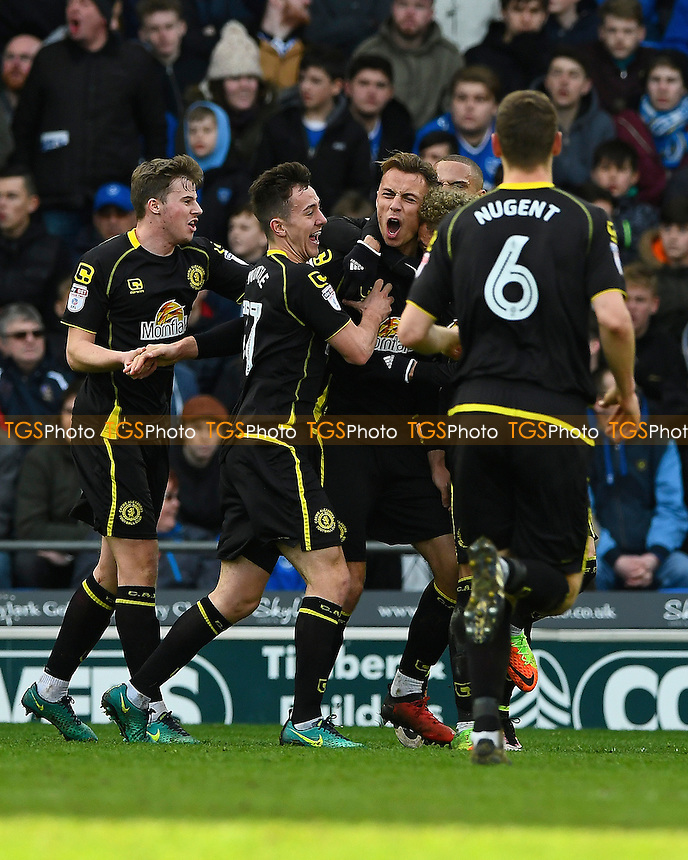 George Ray of Crewe Alexandra (m) celebrates after scoring the only goal of the match during Portsmouth vs Crewe Alexandra, Sky Bet EFL League 2 Football at Fratton Park on 4th March 2017