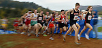 Central Catholic's Galen Rupp (671) leads the field with Centennial's Ryan Vail (668) and Beaverton's Stuart Eagon (645) on his heels. These 4A boys won the race in this order at the OSAA Cross Country State Championships which were at Lane Community College in Eugene.....KEYWORDS: runners, high school