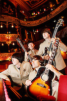 NO REPRO FEE. 4/8/2010.The Story of the Beatles. Ringo, John, George and Paul are pictured taking a break from rehearsals of Get Back: The Story of the Beatles at the Olympia Theatre, Dublin. The Fab Four will play from Wednesday 4th of August until Sunday 8th of August for a limited run. Tickets from EUR25 including booking fee on sale now. For more info contact Sabrina Sheehan sabrinasheehan@mcd.ie. Picture James Horan/Collins Photos