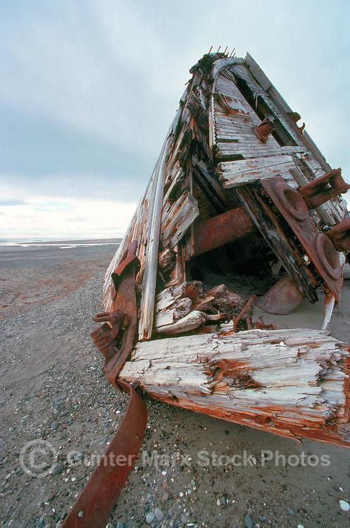 "Queen Charlotte Islands (Haida Gwaii), Northern BC, British Columbia, Canada - ""Pesuta"" Shipwreck on Beach, Naikoon Provincial Park, near Tlell on Graham Island"
